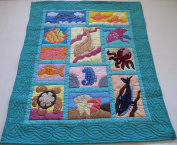 Hawaiian Quilt Baby Blanket/Wall Hanging, hand quilted and machine embroidered UNDER THE SEA