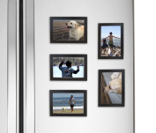 Fridgepic Wood Magnetic Photo Picture Frames, Black - Set of 5