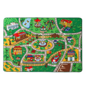 "Children Rug Learning Carpets Play Carpet Machine-washable Non-slip Area Rug 100133cm(40""x52"")(Green Playground)"