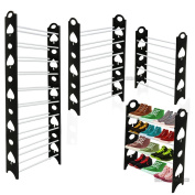 New 4, 6 or 10 Tier Black Shoe Storage Shelf Rack Stand Organiser 12/18/30