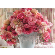 Whitelotous Roses in Vase 5D Diamond Painting DIY Paint-By-Number Kit Home Wall Decor 40 x 30 cm