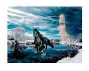 Full diamond round diamond diamond painting beautiful horses,50*40