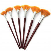 6 Set Fan Paint Brush - Oil Acrylic Artist Watercolour #2, 4, 6, 8, 10,12
