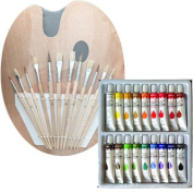 18 Oil Paints, 1 Wood Palette with 12 Brushes, Artist Painting Set