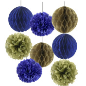 SUNBEAUTY Pack of 8 Chrismas Decoration Gold Blue Honeycomb Balls Tissue Paper Pom Poms Xmas Accessory Party Decoration