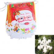 Yunko Santa Claus Hanging Flags Christmas Decorations Bunting Banner Flag + 3D foam Snowflake For Christmas Party Home Decorations