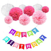 Trasfit Happy Birthday Party Banners Garlands with 9 Pieces Tissue Paper Pom Poms Flower for Birthday Party Decoration