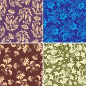 FOUR 30cm x 30cm Blinggasm Vinyl Sheets Set, Flowers Pattern Outdoor Vinyl 041