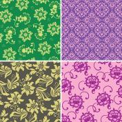 FOUR 30cm x 30cm Blinggasm Vinyl Sheets Set, Flowers Pattern Outdoor Vinyl 038