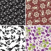 FOUR 30cm x 30cm Blinggasm Vinyl Sheets Set, Flowers Pattern Outdoor Vinyl 033