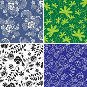 FOUR 30cm x 30cm Blinggasm Vinyl Sheets Set, Flowers Pattern Outdoor Vinyl 030