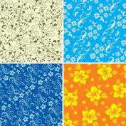 FOUR 30cm x 30cm Blinggasm Vinyl Sheets Set, Flowers Pattern Outdoor Vinyl 027