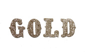 Gold Metallic Glitter HandCut Chipboard Uppercase Letters Alphabet set Sickers 3.8cm