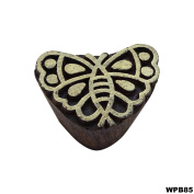 Indian Decorative Hand Carved Butterfly Wooden Stamp Printing Blocks Craft Border Stamps Textile Tattoo Scrapbook