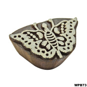 Indian Wooden Printing Block Handcarved Wood Block Art Textile Printing Tattoo Butterfly Textile Stamp