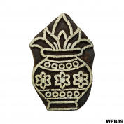 Decorative Handcarved Wooden Blocks Indian Kalash Pattern Textile Tattoo Art Stamp Printing Block For Crafting Purpose