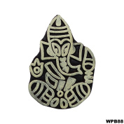 Lord Ganesha Wooden Printing Blocks Indian Hand Carved Textile Fabric Tattoo Stamps Decorative Piece