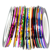 Jocestyle 30PC Nail Art Supplies Mixed Colours Rolls Striping Tape Line Nail Art Tips Decoration Sticker
