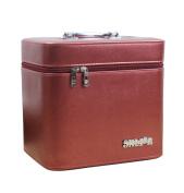 Drasawee Women Portable PU Cosmetic Toiletry Bag Foldable Travel Makeup Organiser Storage Case Burgundy