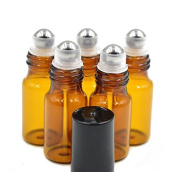 24 Pcs 5ml Empty Brown Glass Roll-on Bottles with Stainless Steel Roller Balls and Black Cap for Essential Oil Perfumes Lip Balms