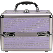 Sunrise C0211 4-Tiers Expandable Trays Makeup Train Case Shoulder Strap Key lock, Purple Krystal