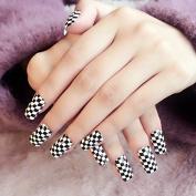 Black White False Nails Classic Grid Decoration Fake Nails Lady Black Full Wraps Finished Nail Kit 24pcs in Package Z280