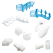 Waker 6 Pairs/12 PCS Silicone Gel Toe Stretchers Toe Separators Toe Straighteners Toe Splint Toe Caps Sleeves Combo Kit for Hammer Toe Bunion Hallux Valgus and Plantar Fasciitis