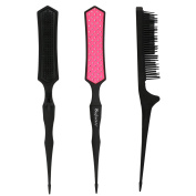 Mini Folding Detangling Brush Hairstyles Teasing Comb for Volume Hair Traval and Portable Rattail Comb Backcombing Brush, V-Designed 3 Tier TPEE Bristles for Fine Thin Hair -- Rose Red