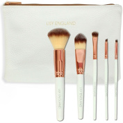 Lily England Rose Gold Best Make Up Brush Set With Case. Lifetime Guarantee. 5 Professional Makeup Brushes. Pro Quality Brushes for Eye Makeup and Face - Ideal Gift