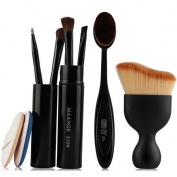 Coshine Contouring Kabuki 82 Oval Makeup Foundation Brush Set With Air Cushion Rubycell Sponge