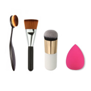 Professional Ultimate Contour Sculpting Brush+Waterdrop Shape Makeup Sponge Blender +Soft Oval Foundation Toothbrush Makeup Brush+Foundation Face Powder Brush Blush Makeup Cosmetic Tool