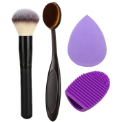 Addfavor 4pcs/set Makeup Set Kit Foundation Oval Brush Cosmetic Puff Facial Sponge Blender Blush Powder Make up Brushes Contour Brush Cleaner Egg Tools
