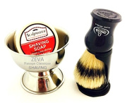 Omega Blue Shaving Set with Brush, Holder, and Soap in Bowl