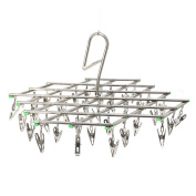 TAPCET Stainless Steel Swivel Hook 35 Pegs Underwear Socks Gloves Drying Rack Clothes Hanger