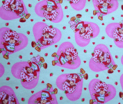 1 Yard - Strawberry Shortcake in Hearts on light green Flannel Fabric (Great for Quilting, Sewing, Craft Projects, Throw Pillows & More) 1 Yard X 110cm Wide