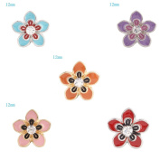 Lovmoment 12MM Mini Size Cherry Blossoms Shape with Rhinestones Snap Button Jewellery Charms