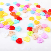 13mm Plastic buttons 2 Holes Heart Mixed Design Painted decoration Sewing Plastic buttons Textil Accessories