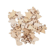 RayLineDo 50pcs Natural Wooden Christmas Series Buttons Pendants Scrapbooking Embellishments DIY Craft Decor