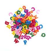 RayLineDo 100pcs Wooden Capital Letters Various Colours Sewing Buttons Pendants DIY Craft Clothes Decor