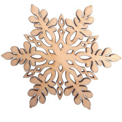RayLineDo 10pcs Snowflake Hollow Design E Wooden Christmas Ornaments Embellishments with String