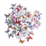 RayLineDo Pack of 50pcs Mixed Colour Butterfly Buttons 2 Holes Different Patterns Wooden Buttons for Sewing and Crafting
