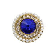 2 Pcs Luxury Pearl Rhinestone Decorative Buttons for Coat Sweater, E