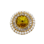 2 Pcs Luxury Pearl Rhinestone Decorative Buttons for Coat Sweater, C
