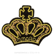 [ Yiss, Your Majesty ] Gold Blingy Royal Crown Clip Art with Blink Sequins Embroidery - Easy & Fast Iron on, Sew on Embroidered Patch - Applique, Craft, Kid Boy Girl Cloth Repair & Decoration