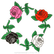 [ The Forbidden Garden ] Four Rose Sprig Circle Ring Clip Art - Easy & Fast Iron on, Sew on Embroidered Patch - Applique, Craft, Kid Boy Girl Cloth Repair & Decoration