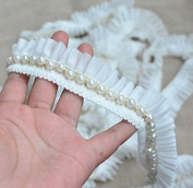 5 Yard/lot Beaded Trim Diy Handmade Wedding Rhinestone Trimming Applique Bridal Headband Lace Dress Ribbon Fabric Costume Sewing On 3.5cm