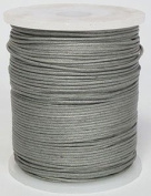 Blue Bird Brand - 0.5mm Steel Grey Polished Braided Cotton Cord. 100 metres per spool. Includes 1 spool.