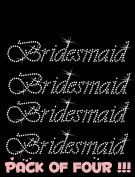 BRIDESMAID clear rhinestone iron-on Hotfix transfer bling DIY- Lot of 4!!!