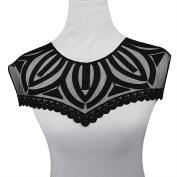 Shevalues 2Pcs Black Gauze Neckline Lace Collar Embroidery Venise Lace Applique Lace Trim DIY Craft