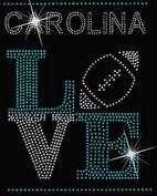 Carolina Football Love #2 Rhinestone Iron on Transfer